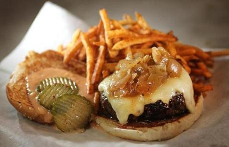Boston, MA - 03/30/12 - Burger for Dining Out feature on JM Curley in Downtown Crossing. - (Globe Staff Photo / Barry Chin) section: Food/Lifestyle, reporter: First, slug: 04diningpic, LOID: 5.0.1013733338